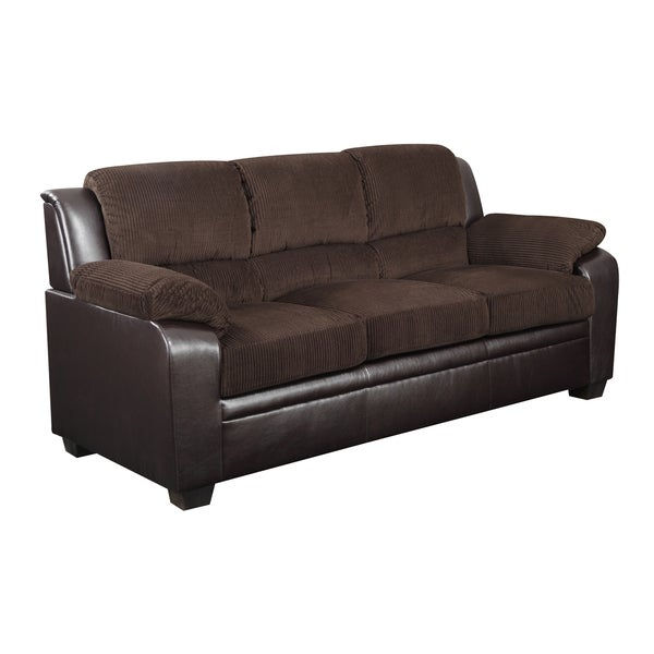 Chocolate corduroy brown pvc two tone sofa for Brown corduroy couch
