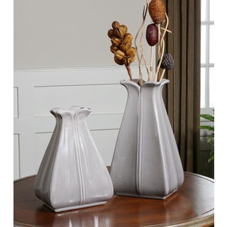 Uttermost Florina Glossy Pale Grey Ceramic Vases (Set of 2)