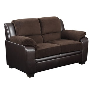 Chocolate Corduroy/ Brown PVC Loveseat