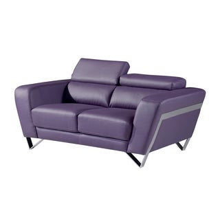 Natalie Purple Bonded Leather Loveseat