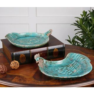 Galiana Teal Rooster Ceramic Tray (Set of 2)