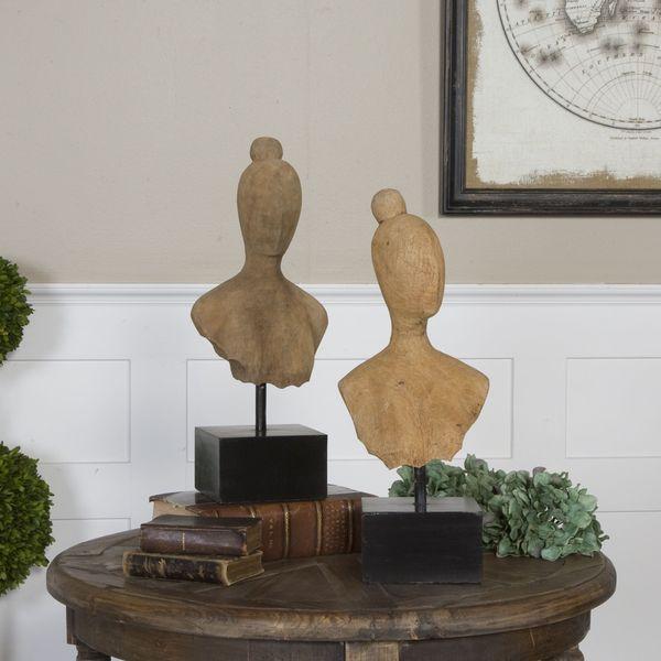 Uttermost Arlie Mango Wood and Iron Sculptures (Set of 2)