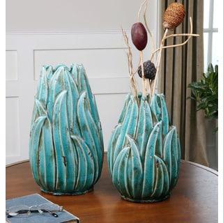 Uttermost Darniel Teal Blue Ceramic Vases (Set of 2)