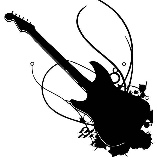 Rock 'N' Roll Guitar Vinyl Wall Decal