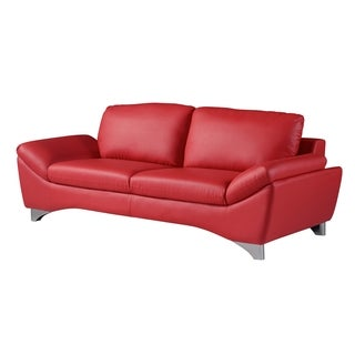 Natalie Red Bonded Leather Sofa