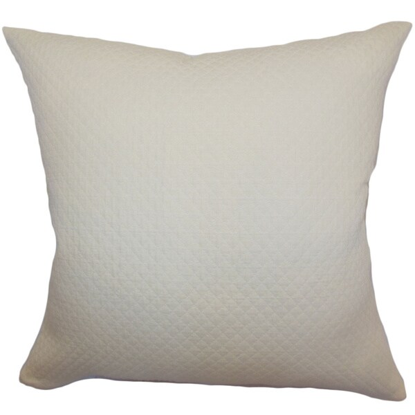 Capri Creme Herringbone Feature Filled Throw Pillow