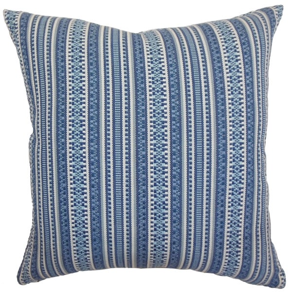 Gawanna Blue Stripes Feature Filled 18-inch Throw Pillow