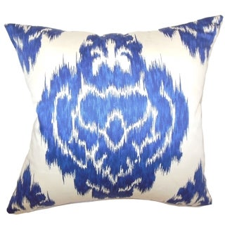 Icerish Navy Ikat Feature Filled 18-inch Throw Pillow