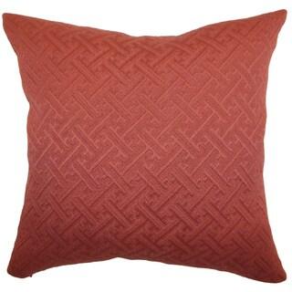 Laesta Rust Greek Key Feature Filled 18-inch Throw Pillow