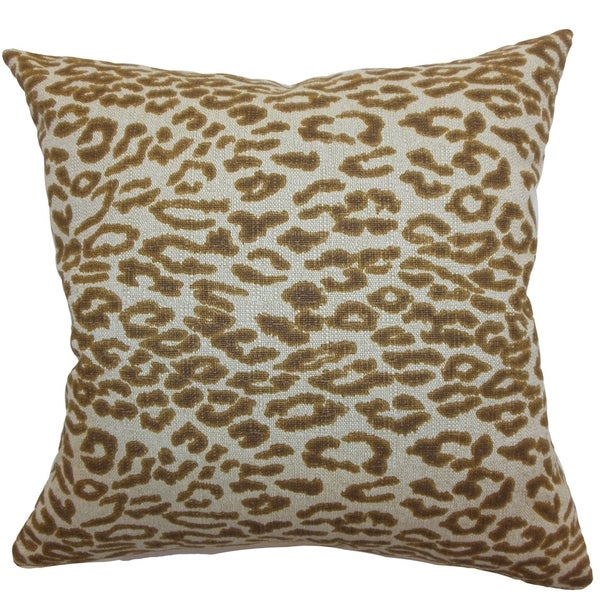 Egeria Brown Leopard Print 18-inch Feather and Down Filled Throw Pillow