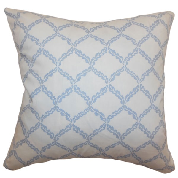 Quelah Blue Bell Floral 18-inch Down Filled Throw Pillow