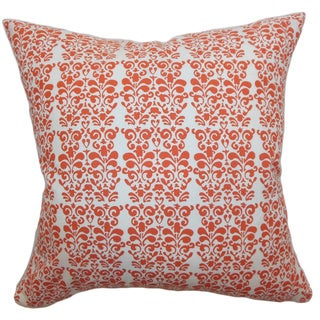 Silvia Persimmon Floral 18-inch Down Filled Throw Pillow