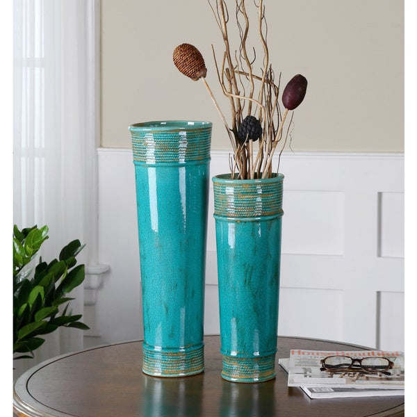 Uttermost Thane Teal Green Ceramic Vases Set Of 2