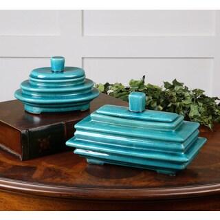 Indra Bright Blue Ceramic Boxes (Set of 2)