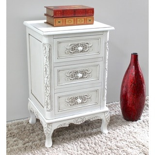 International Caravan Windsor Hand-carved Hardwood Three-drawer End Table