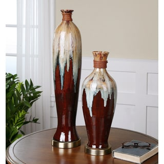 Aegis 2-piece Glazed Ceramic Vase Set