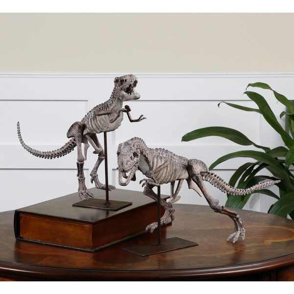 Uttermost Dark Mahogany T-Rex Sculpture (Set of 2)