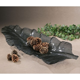 Smoke Grey Leaf-shaped Glass Tray