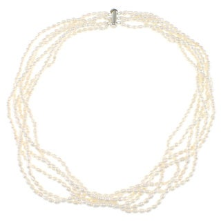 Pearlz Ocean Twisted White Freshwater Pearl Necklace