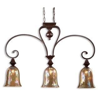 Uttermost Elba 3-Light Kitchen Island Metal and Glass Lighting Fixture