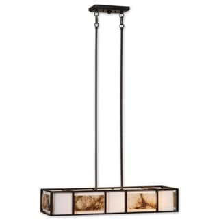 Uttermost Quarry 4-light Metal, Marble, Glass and Fabric Lighting Fixture Chandelier