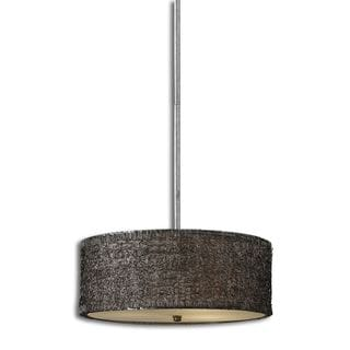 Sedilo 3-light Aluminium Metal Fabric Glass-lighting Fixture Pendant