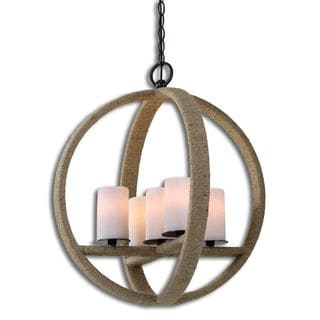 Gironico Round 5-light Metal Glass Rope Lighting Fixture Pendant