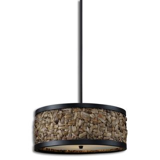 Calameae 3-light Rattan/ Aged Black Pendant