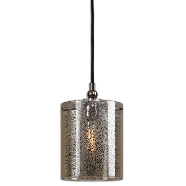 Uttermost Mariano 1-light Mercury Glass/ Polished Nickel Mini Pendant