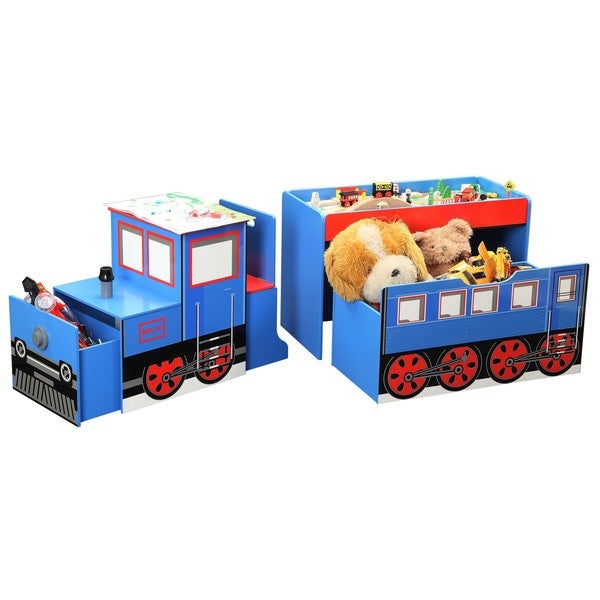 Wood Train Toy Box with Train Set