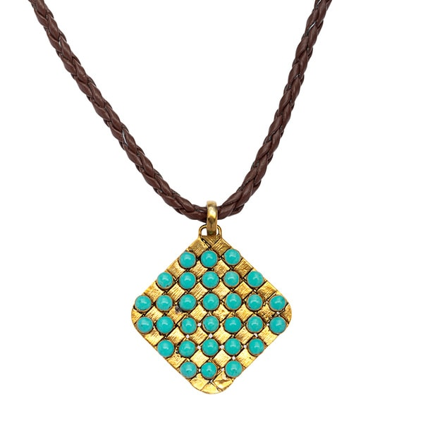 Braided Leather Biji Aqua Bead Grid Necklace