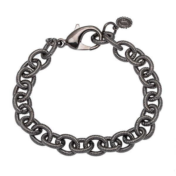 Black Brass Textured Tribeca Chain Bracelet