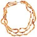 Pearlz Ocean Triple Strand Knotted Carnelian Beaded Necklace