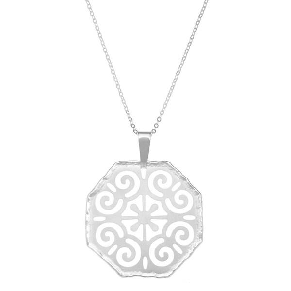 La Preciosa Sterling Silver Matte Hexagon Designed Pendant Necklace