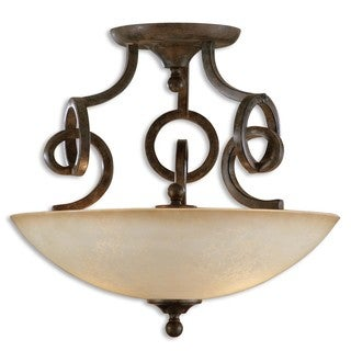 Legato 3-light Chestnut Brown Semi Flush Mount