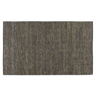 Taryn Rescued Sueded Black Leather Rug (8' x 10')