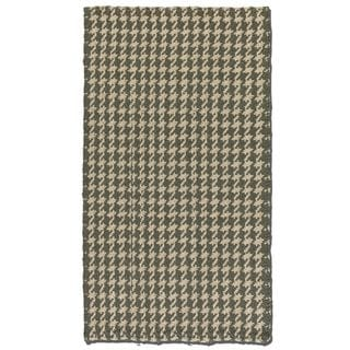 Bengal Olive/ Grey Houndstooth Print Jute Rug (8' x 10')