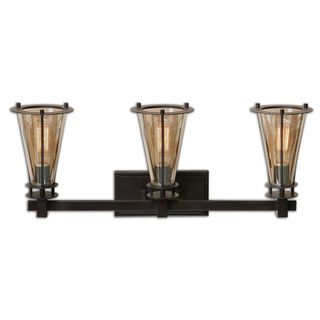 Frisco 3-light Vanity Strip Metal/ Glass Lighting Fixture