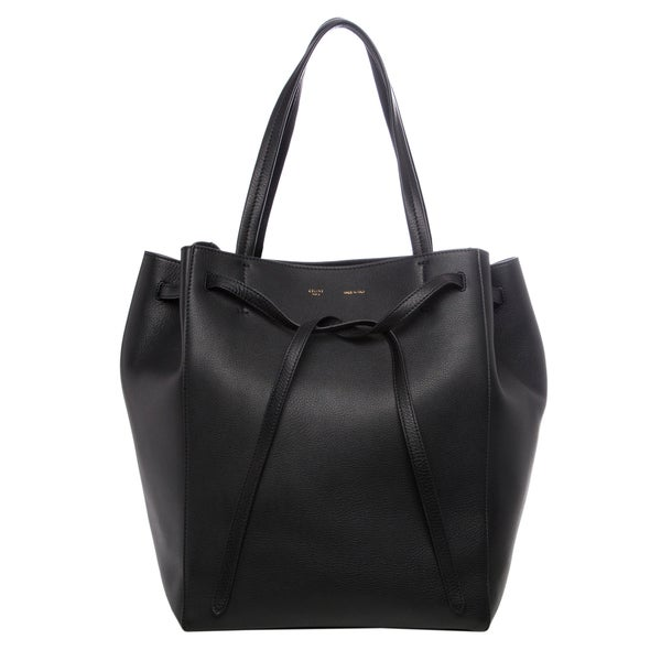 celine micro bag - Celine Medium 'Cabas Phantom' Black Grainy Leather Tote - 16280779 ...