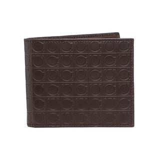 Salvatore Ferragamo Embossed Gancini Brown Leather Bi-fold Wallet