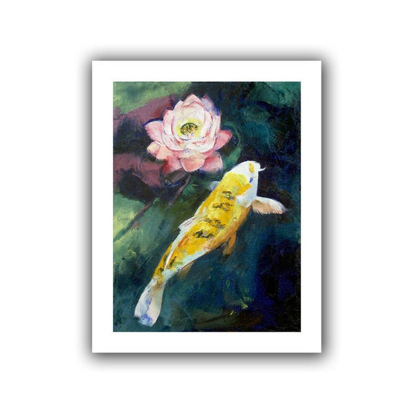 Michael Creese 'Koi and Lotus Flower' Unwrapped Canvas
