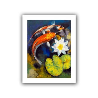 Michael Creese 'Koi Fish and Water Lily' Unwrapped Canvas