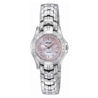 Seiko Women's SXGN49 Diamond Pink MOP Dial Silver-Tone Watch
