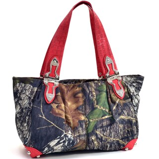 Camouflage and Red Hinge-handle Shoulder Bag