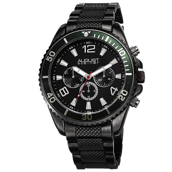 August Steiner Men's Swiss Quartz Multifunction Black Bracelet Watch 13063587