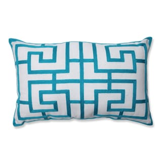 Embroidered Blue Geometric Rectangular Linen Blend Throw Pillow