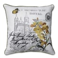 Embroidered Yellow Flowers and Castle Print 18-inch Corded Linen Blend Throw Pillow