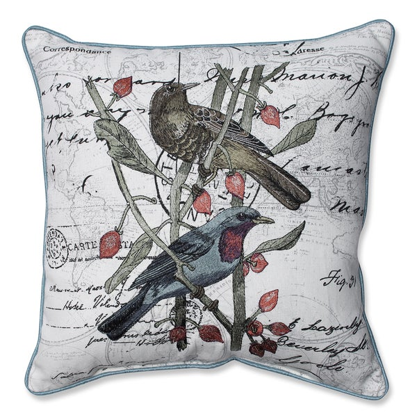 Adresse Embroidered Birds 16.5-inch Corded Linen Blend Throw Pillow
