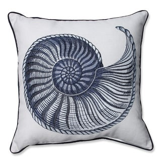 Embroidered Spiral Shell 18-inch Corded Linen Blend Throw Pillow