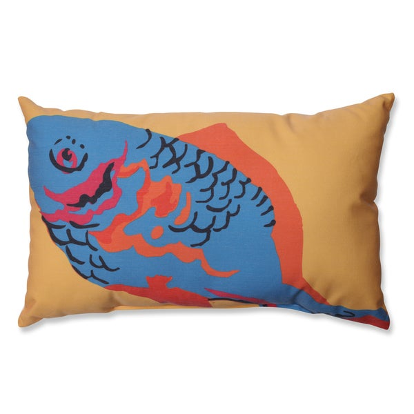 Blue Fish Rectangular Linen Blend Throw Pillow